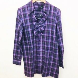 NWT! New Directions Plaid Ruffle Tunic Top